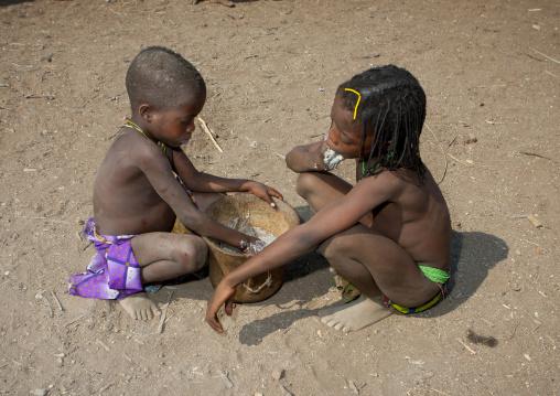 Mucawana Kids Eating In A Pot, Village Of Soba, Angola