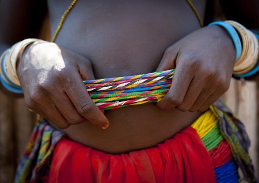 Mucawana Woman Showing Her Beaded Belt, Village Of Soba, Angola