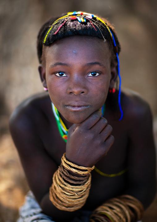 Portrait of a Muhacaona tribe girl, Cunene Province, Oncocua, Angola