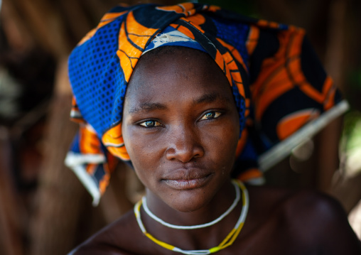 Portrait of a Mucubal tribe women wearing colorful headwears, Namibe Province, Virei, Angola