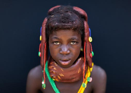 Portrait of a Mumuhuila tribe girl, Huila Province, Chibia, Angola