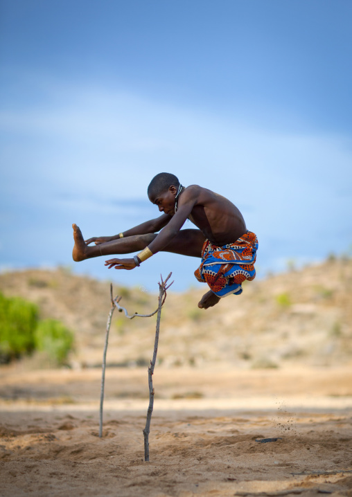 Mukubal Kid Doing High Jumping, Virie Area, Angola