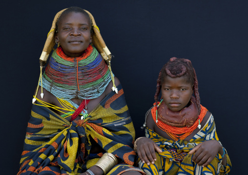 Mwila Woman And Girl With Traditional Necklaces And Hairstyles, Chibia Area, Angola