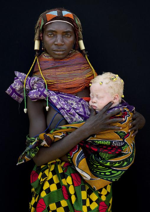Mwila Mother With Her Albino Baby, Angola