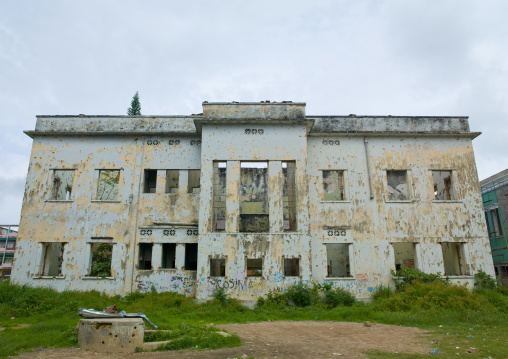 Old Building In Ruins Riddled With Bullet Impacts, Huambo, Angola
