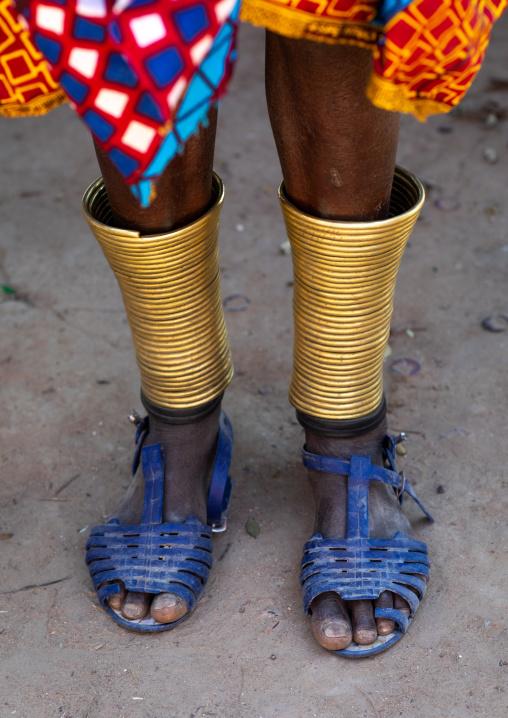 Mumuhuila tribe woman anklets bracelets, Huila Province, Chibia, Angola