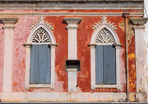 Windows of an old portuguese colonial building, Benguela Province, Lobito, Angola