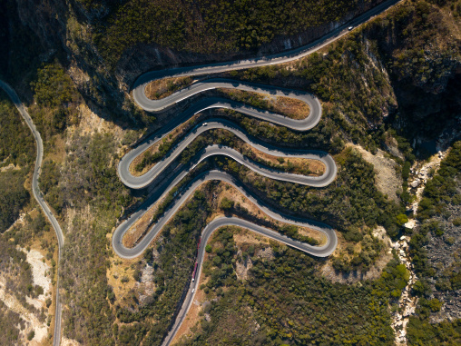 Aerial view of the the road at Serra da Leba, Huila Province, Humpata, Angola