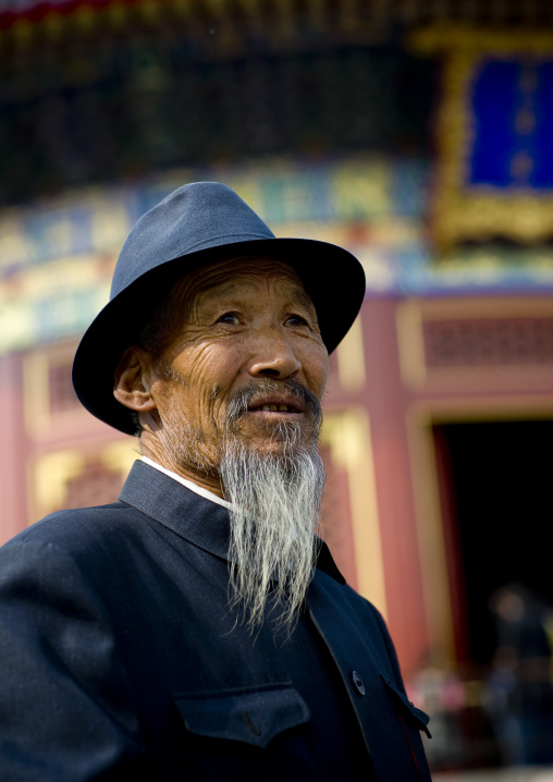 Old Chinese Man With A White Beard, Beijing, China