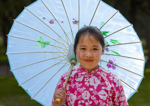 Chinese Girl With An Umbrella, Beijing, China
