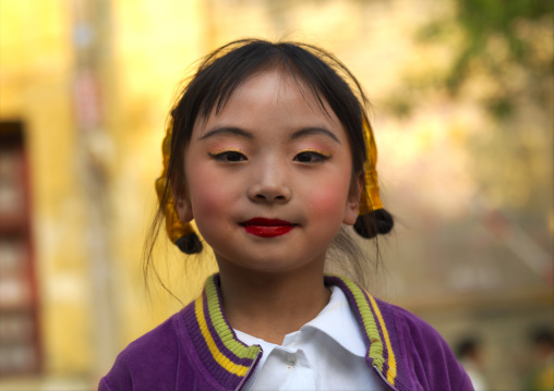 Little Girl With Make During A School Celebration, Kunming, Yunnan Province, China