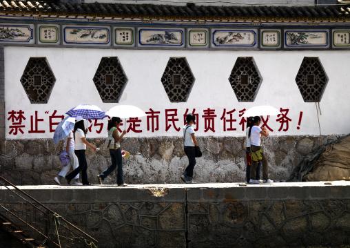 Women Walking On The Dock Of Erhai Lake, Xizhou, Yunnan Province, China