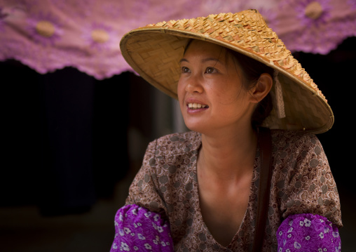 Young Woman With A Chinese Hat, Menglun, Yunnan Province, China