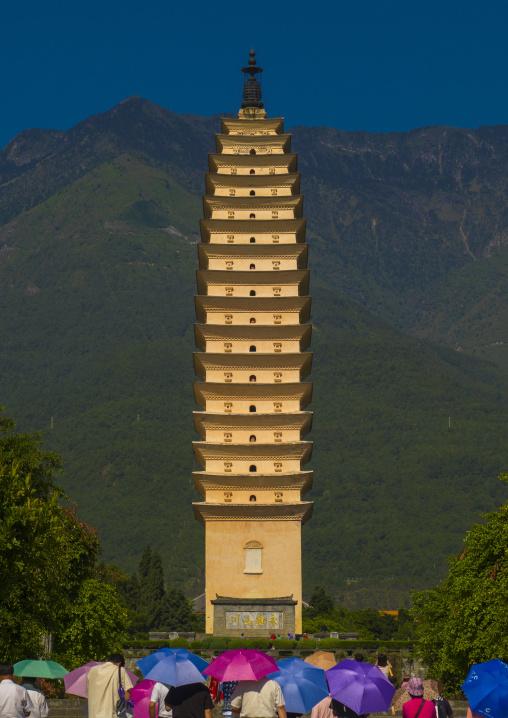 The Three Pagodas Of San Ta Si Monastery In Dali, Yunnan Province, China
