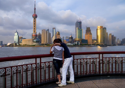 Young Couple Inlove In Front Of Jinmao Tower And Oriental Pearl Tower, Shanghai, China