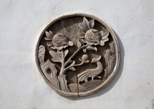 Wall  decoration of a temple in Shachong monastery, Qinghai Province, Wayaotai, China
