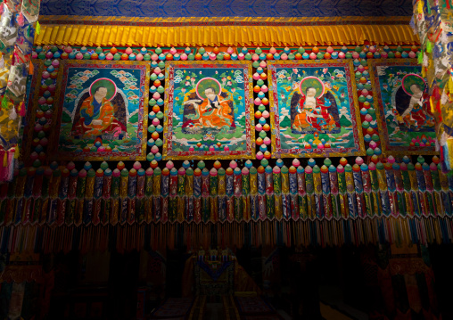 Sewed thangka in Shachong monastery, Qinghai Province, Wayaotai, China
