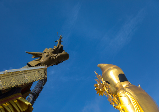 Dragon on a roof and golden statue of buddha in Shachong monastery, Qinghai Province, Wayaotai, China