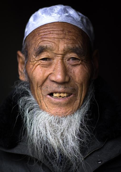 Portrait of a Salar ethnic minority old man with white beard, Qinghai Province, Xunhua, China