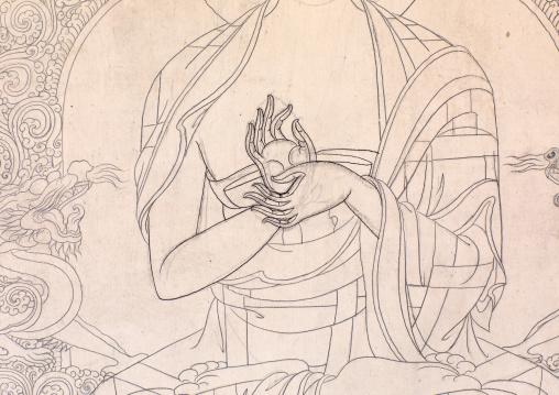 Thangka painting in progress, Qinghai province, Wutun, China