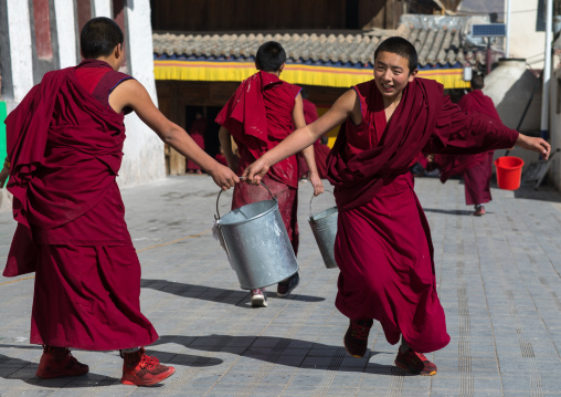 Monks carrying buckets for the painting of a temple in Rongwo monastery, Tongren County, Longwu, China