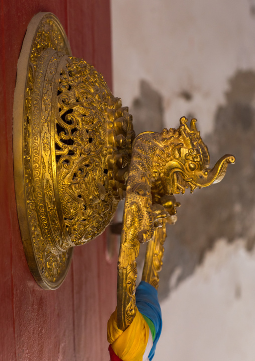 Ornate knocker on traditional buddhist door temple in Rongwo monastery, Tongren County, Longwu, China