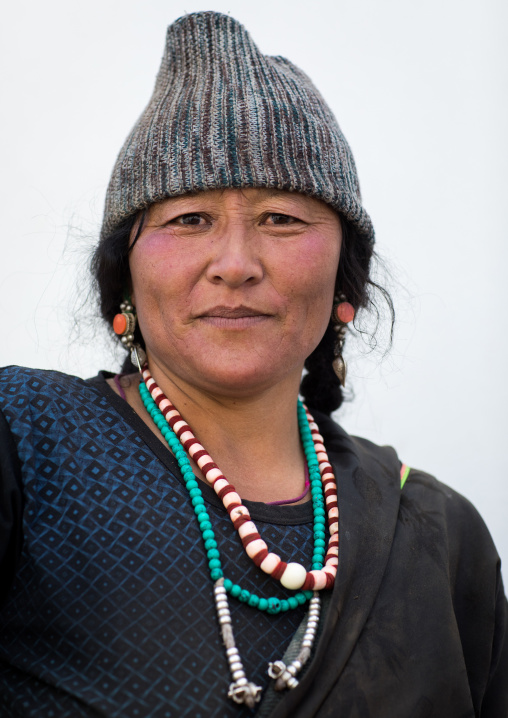 Portrait of a tibetan woman, Qinghai province, Tsekhog, China