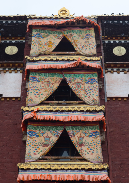 Low angle view of milarepa tower in Hezuo monastery, Gansu province, Hezuo, China