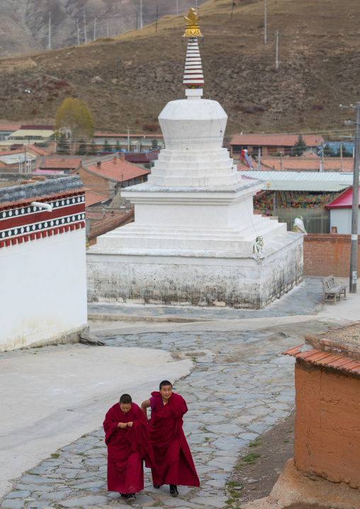 Tibetan buddhist nuns passing in front of a stupa in Labrang nunnery, Gansu province, Labrang, China
