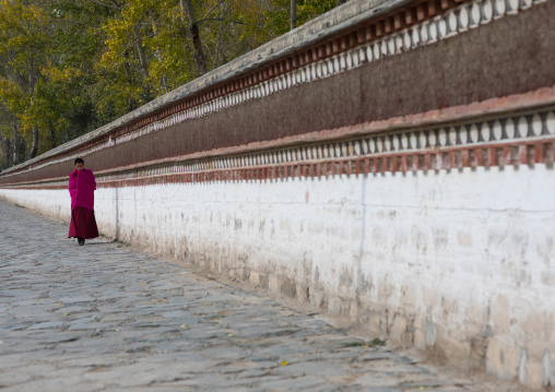 Lonely tibetan monk walking in the street of Labrang monastery, Gansu province, Labrang, China