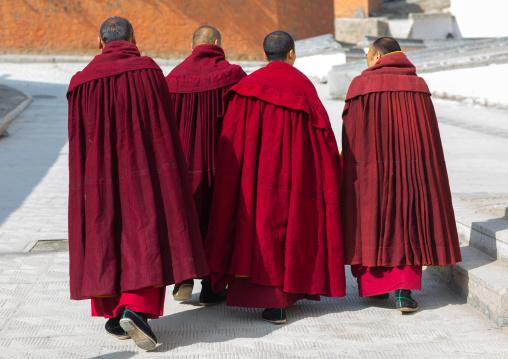 Tibetan monks of the gelug order in Labrang monastery, Gansu province, Labrang, China