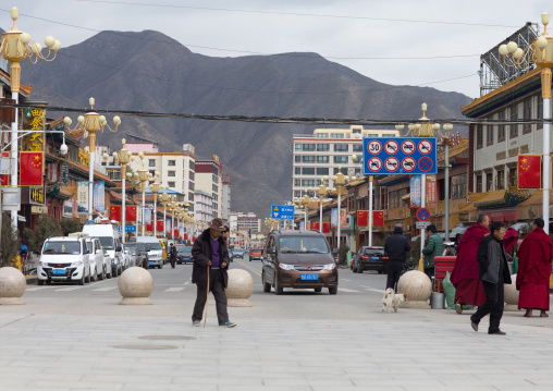 View of the modern area of the town, Gansu province, Labrang, China