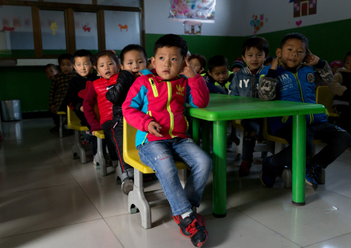 Salar ethnic minority children in a school, Qinghai province, Xunhua, China
