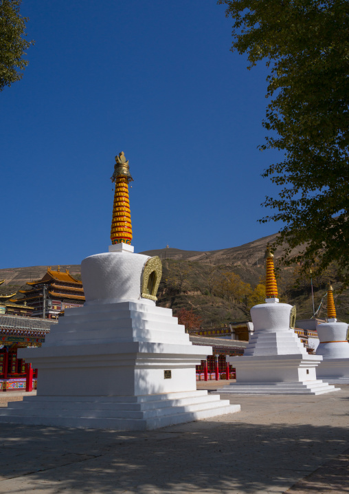 Stupas in Wutun si monastery, Qinghai province, Wutun, China