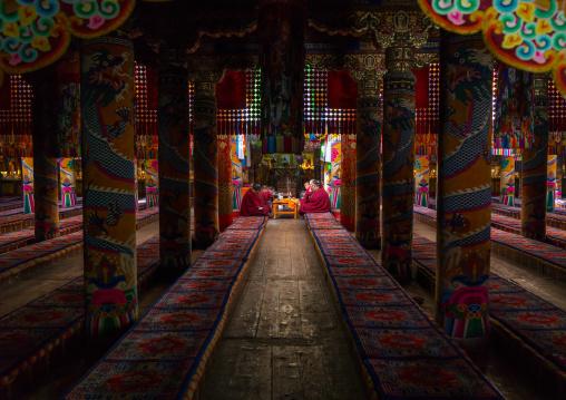 Monks praying and meditating inside Rongwo monastery, Tongren County, Longwu, China