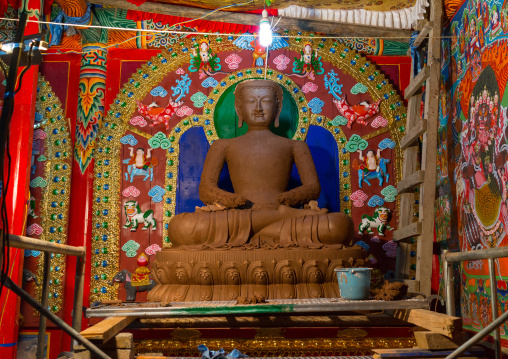 New statue being made with clay in Chonjgon monastery, Tongren County, Longwu, China