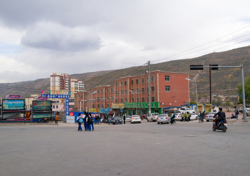View of the modern area of the town, Tongren County, Longwu, China