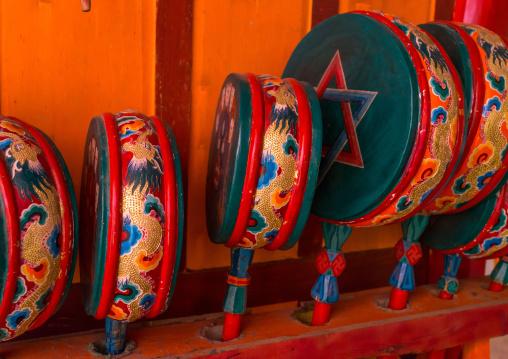 Tibetan drums inside Bongya monastery, Qinghai province, Mosele, China