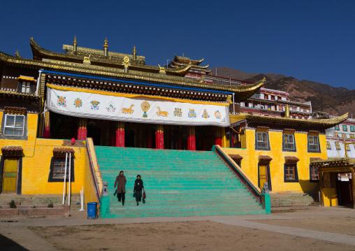 Gelug order or yellow hat sect tibetan temple in Bongya monastery, Qinghai province, Mosele, China