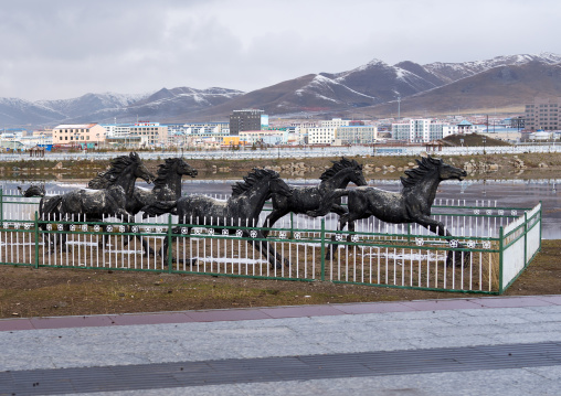 Horses statues in the suburb of the town, Qinghai province, Sogzong, China