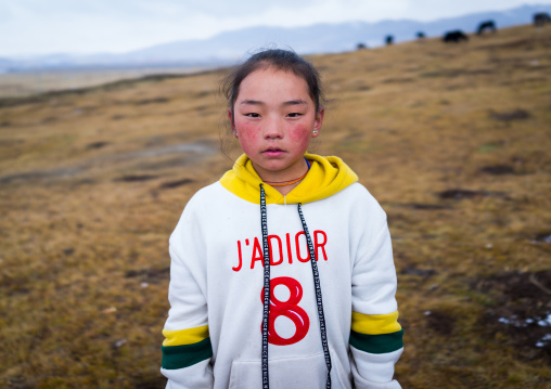 Portrait of a tibetan nomad girl with her cheeks reddened by the harsh weather, Qinghai province, Sogzong, China
