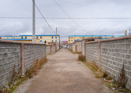 Houses build for tibetan nomads who are being forced off the land and moved into urban settlements, Qinghai province, Sogzong, China