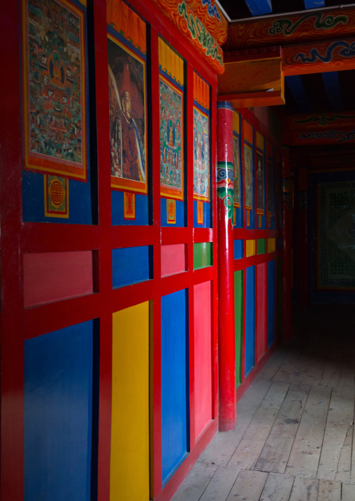 Colorful door inside milarepa tower in Hezuo  monastery, Gansu province, Hezuo, China