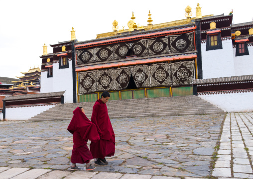Young tibetan monks walking in the Hezuo monastery, Gansu province, Hezuo, China