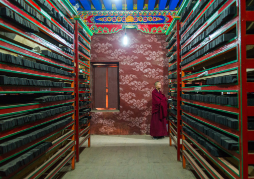 Tibetan scriptures printed from wooden blocks in Barkhang library, Gansu province, Labrang, China