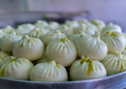 Typical street food dumplings called momos, Gansu province, Linxia, China