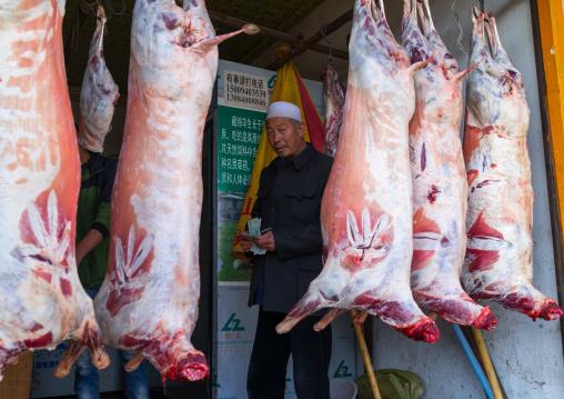 Butcher shop displaying fresh meat, Gansu province, Linxia, China