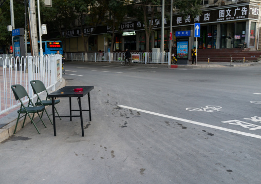 Small traffic police station in en empty crossroad, Gansu province, Linxia, China