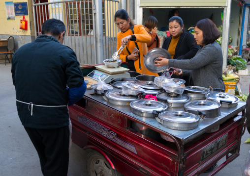 Street food vendor along a road, Gansu province, Lanzhou, China