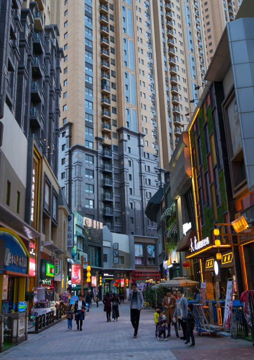 Shops and restaurants in the city center, Gansu province, Lanzhou, China
